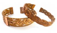 Vintage Pair Of Copper Cuff Plaited Design Cuff Bangles.